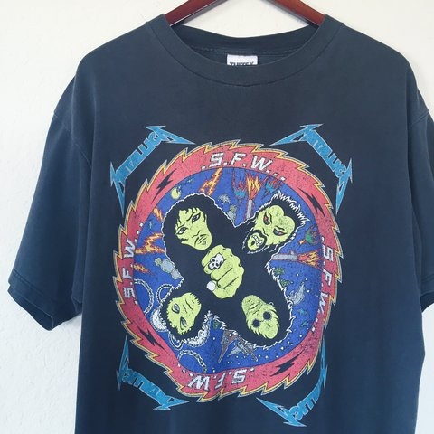 0da465f02 Vintage 1996 Metallica S.F.W. T-Shirt || Men's XL || worn - Depop