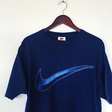 6d47af63 Vintage 90s Big Swoosh Nike T-Shirt Made in USA || Men's 8 - Depop