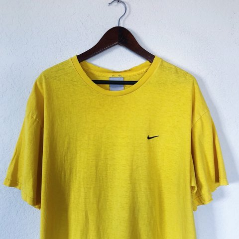 6599d81d Vintage 90s Yellow NIKE Embroidered Swoosh Logo T-Shirt a - Depop