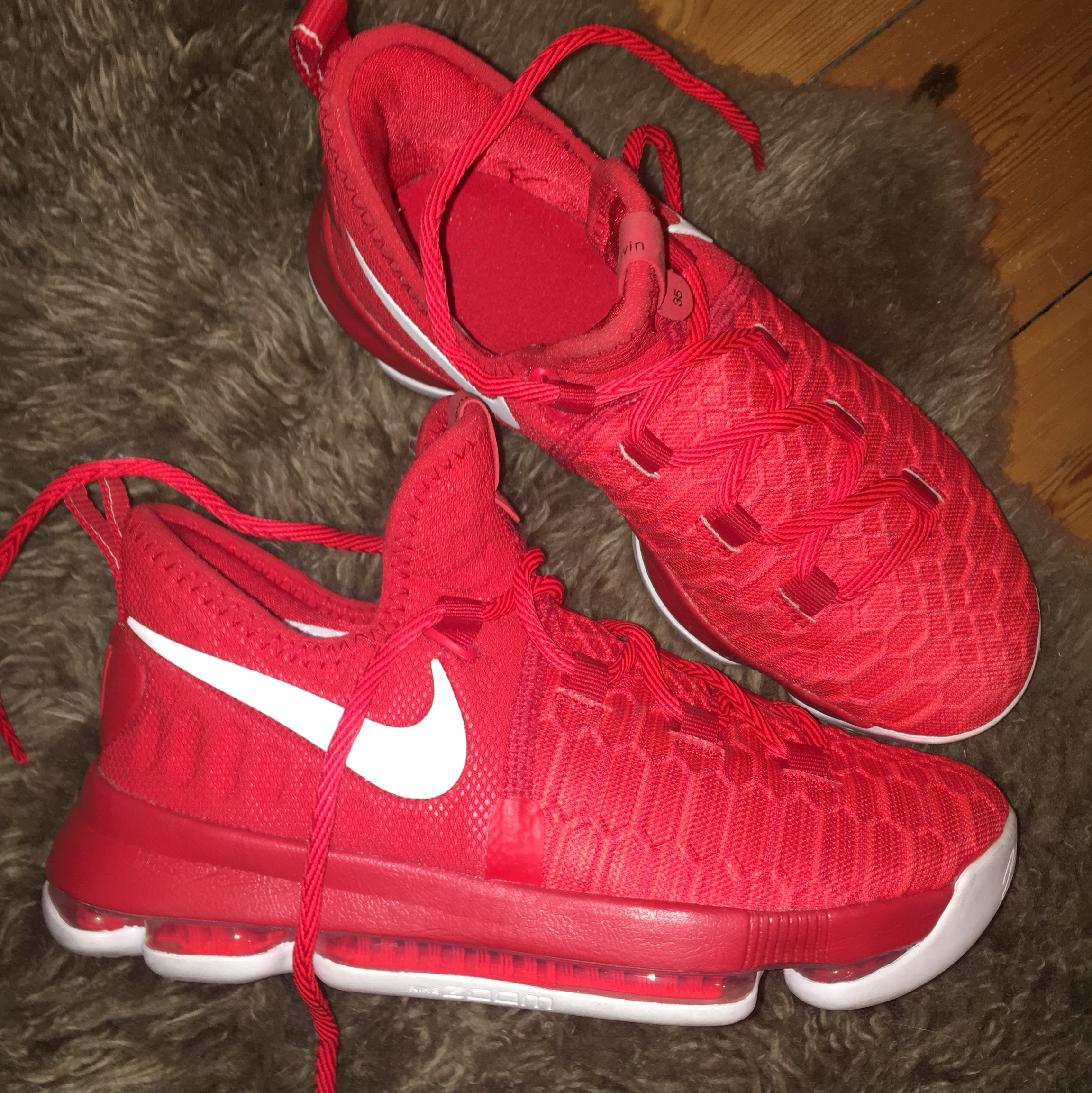 hot sale online 9988f 0dc58 Nike Zoom KD 9 Flyknit Varsity Red Basketball... - Depop
