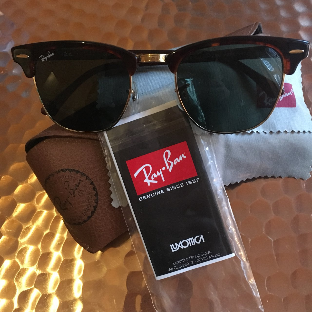 33277a2176d Original Ray Ban clubmaster sunglasses with certificate worn - Depop