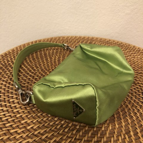 c32f6a8ad6e5 @angiebauer. 6 months ago. Los Angeles, United States. 💚 Vintage lime green  satin Prada bag!