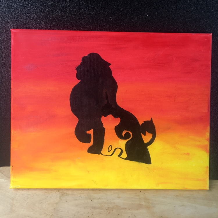 Lion King Silhouette Painting 15 Shipped Hand Depop