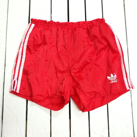 6f19850bc5 @cultvintage. 2 years ago. Hereford, United Kingdom. AMAZING VINTAGE RETRO  80s RED ADIDAS WITH WHITE STRIPE CLASSIC SPORTS SHORTS