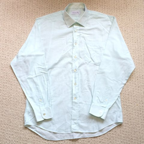 6e93f034 @vintage_garms_uk. last year. Beddau, United Kingdom. Men's vintage pale  green Christian Dior Shirt