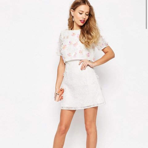 c386a94c3 @aoife133. 2 months ago. Maghera, United Kingdom. PETITE ASOS SALON 3D  Floral Lace white Embroidered Crop Top Mini Dress