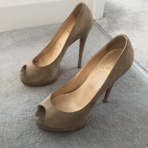 c32b83a5d65 Grey suede Christian Louboutin heels. Damage to sole   both - Depop
