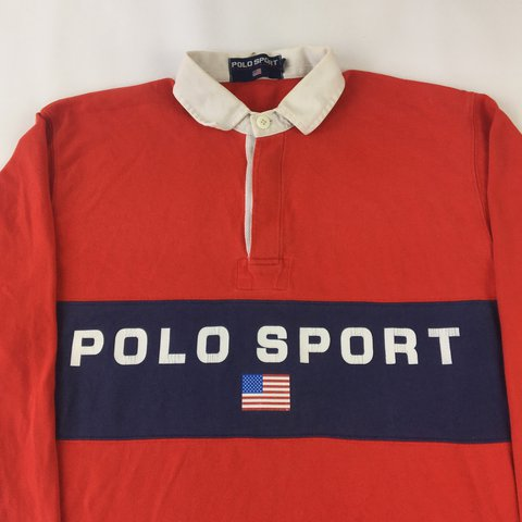 212ae397 ... good vintage polo sport ralph lauren spell out rugby shirt. but depop  563cb 773b9