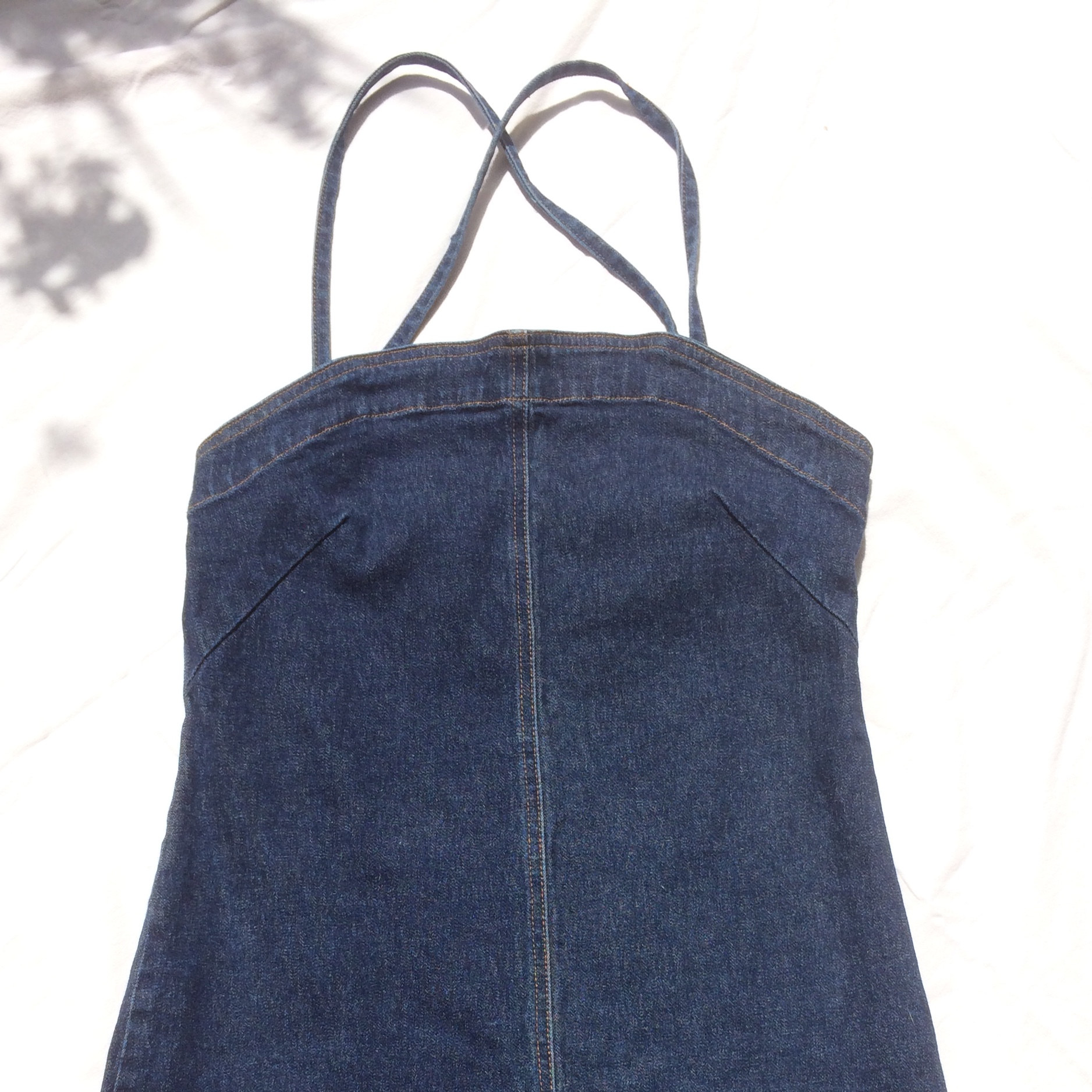 vintage DKNY jeans denim dress, medium denim hue,    - Depop