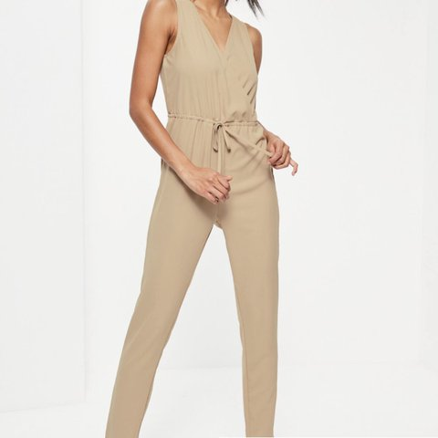 1800ca31696d Missguided beige jumpsuit Uk size 8 Never been ordered wrong - Depop