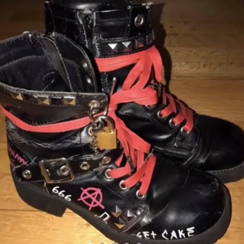 4be5ab3e066 Lil peep inspired painted   designed combat boots. This is a - Depop