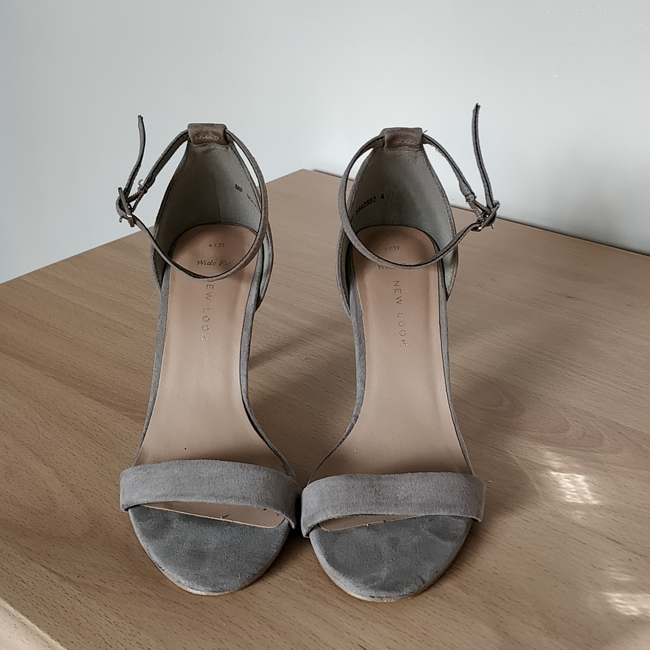 Grey suede strappy heels Wide fit new