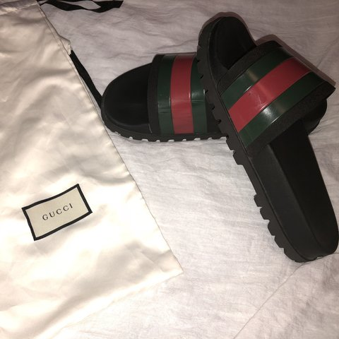 00f7d39c4400 gucci web slides size men s 11 some scuffs shown in with - Depop