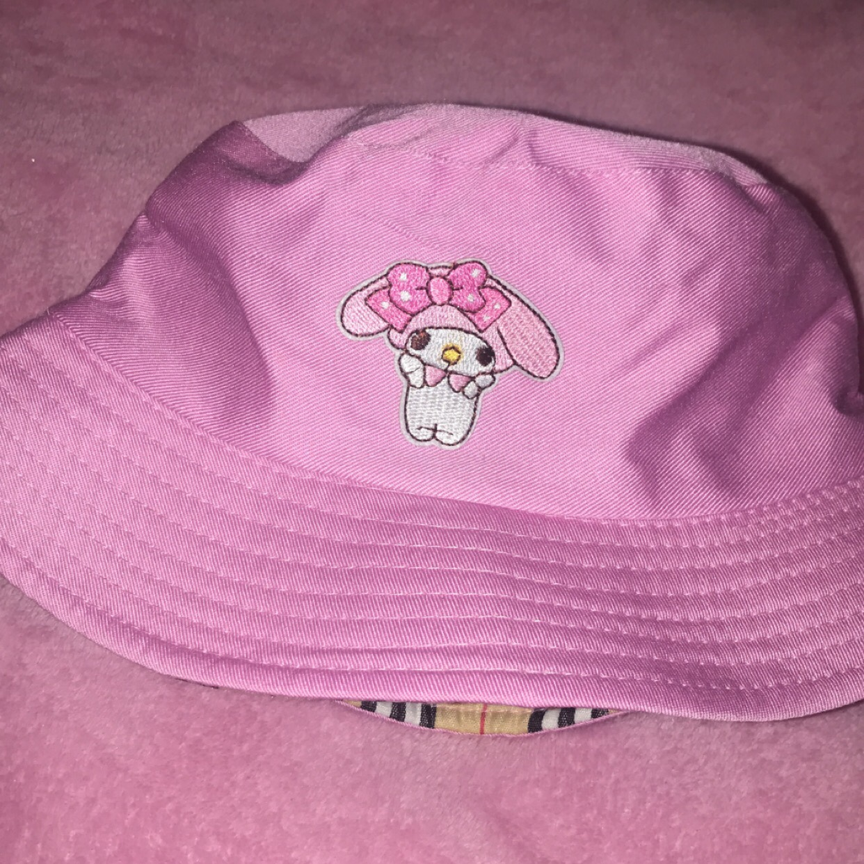 My Melody Bucket Hat Pink Reversible Limited Depop