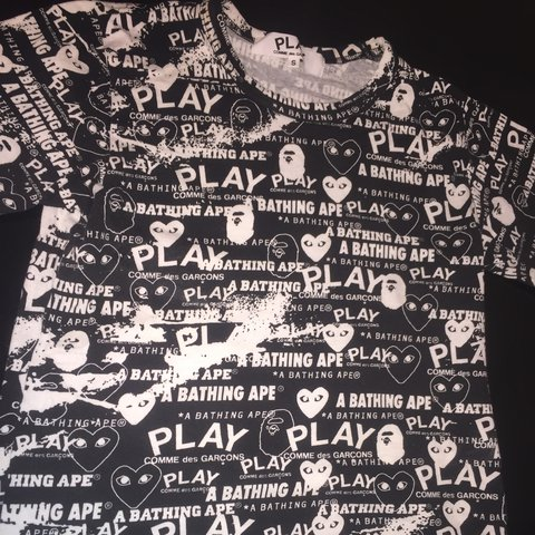 8f6a0a57 BAPE X CDG T SHIRT. Very rare and sought out piece from x - Depop