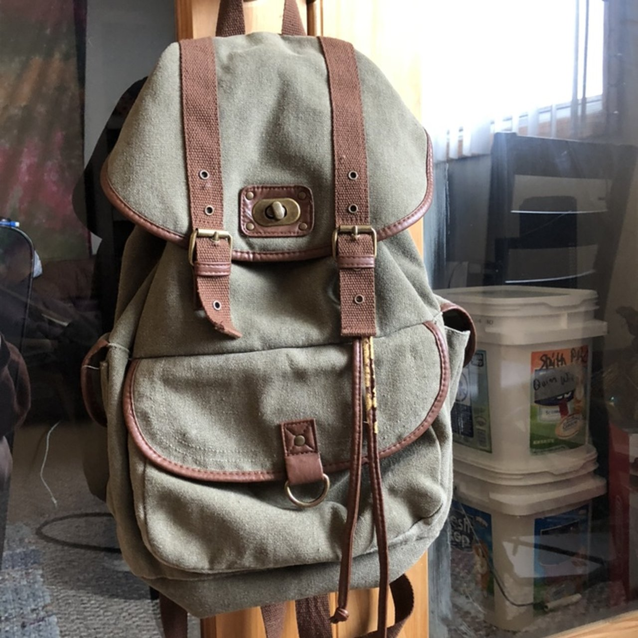 c5562a51eacc Target brand army green backpack. In medium condition