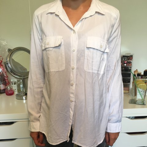 6c156328e04 WHITE BLUE Button down double collar shirt Source · White linen button down  shirt From Topshop UK Size 8 Good Depop