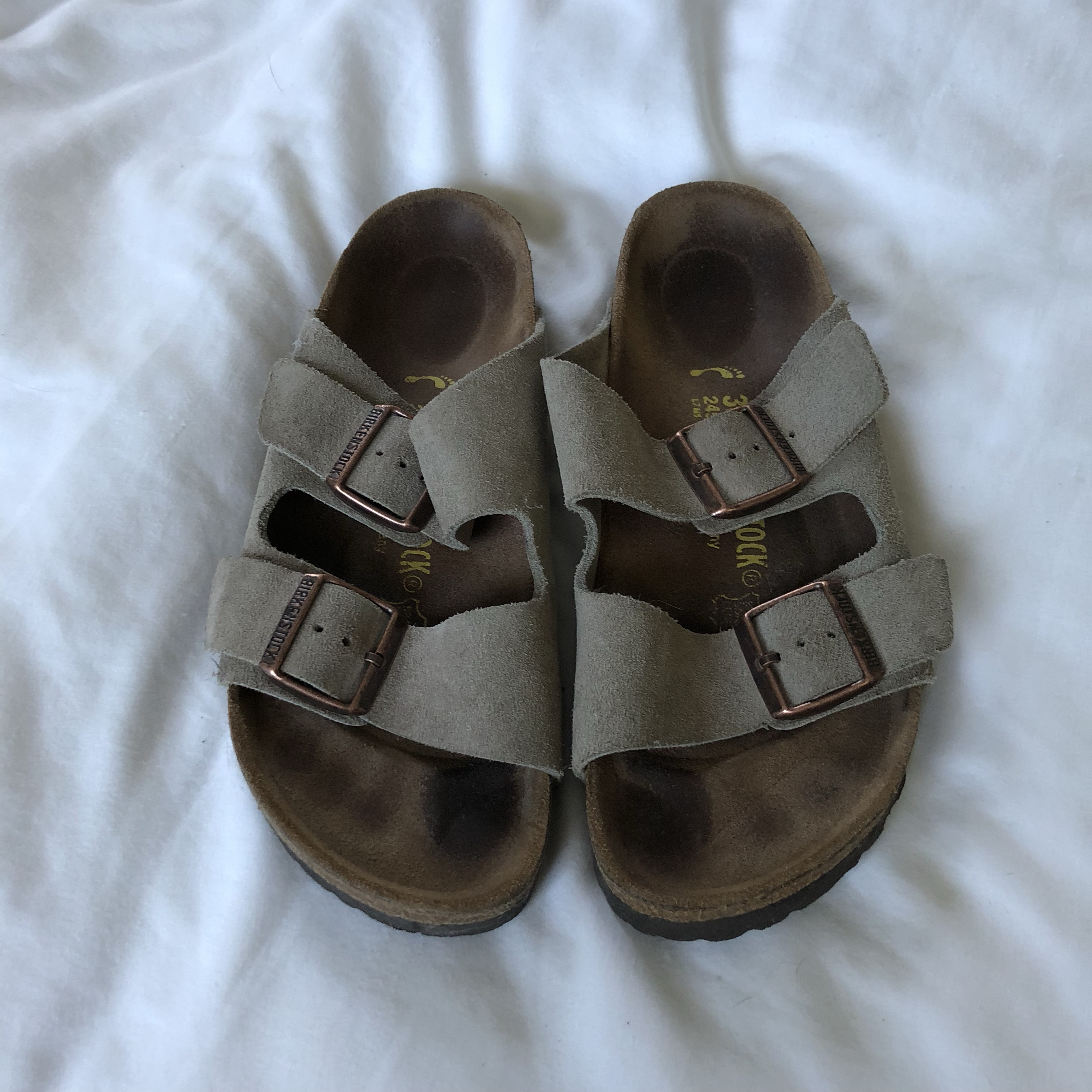 Women's Taupe Birkenstocks Size 38 Worn, but still Depop
