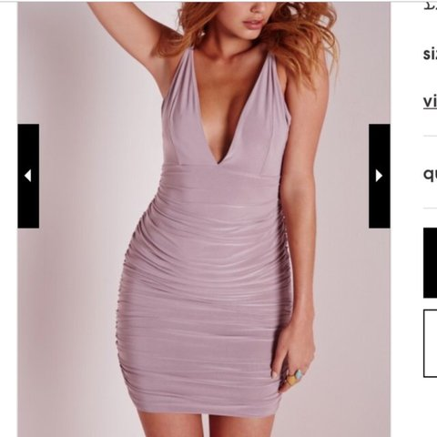 fc1eac8ccf Miss guided slinky ruched mauve lilac body con dress very so - Depop