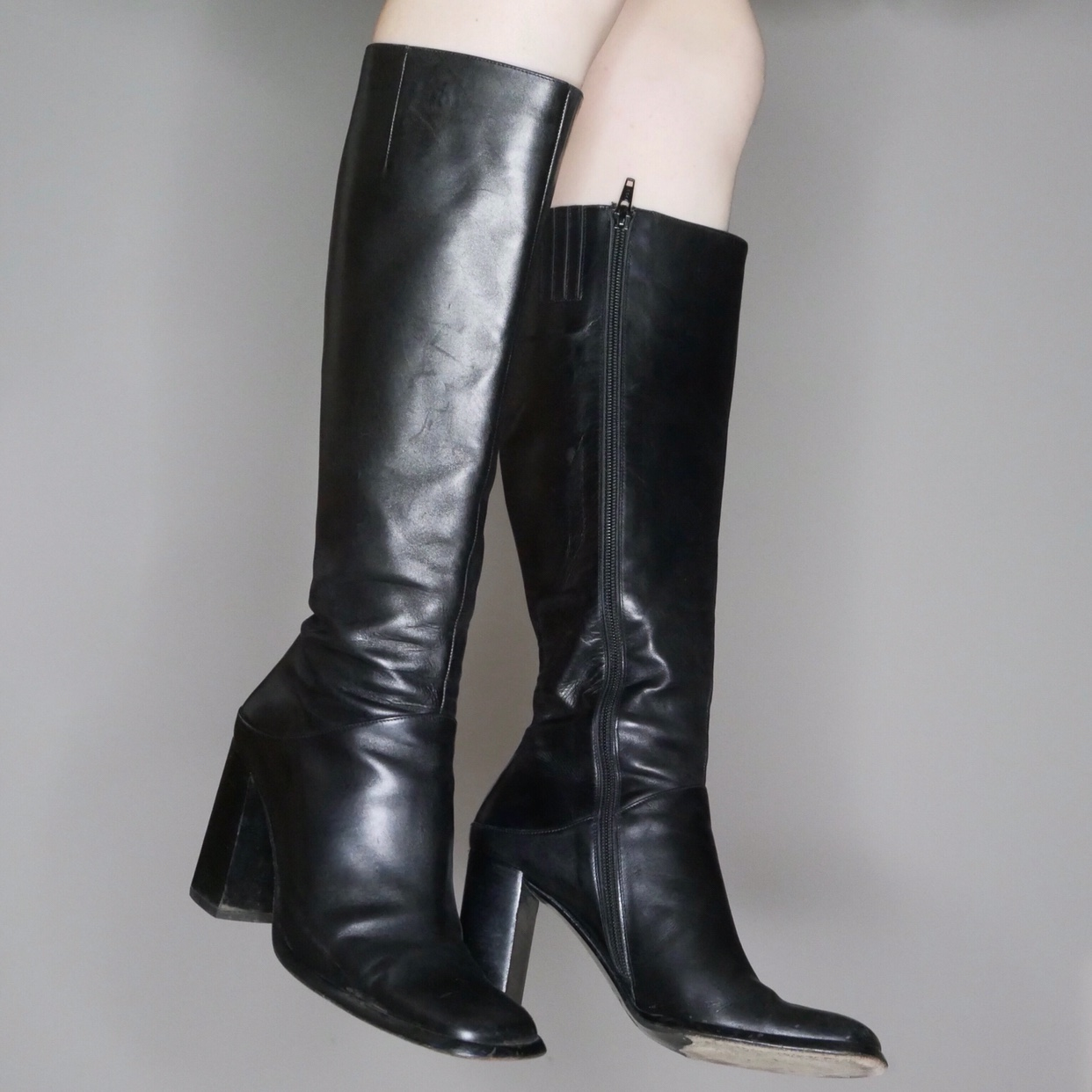 90s black leather below the knee boots