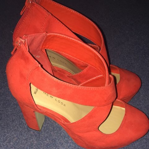 ac0ff8382dc New look- size 5 wide fit red block heels Very good (worn - Depop