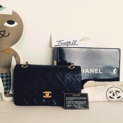 02d3ad828173 @tigerlily28. 4 years ago. Singapore. Chanel Vintage Lambskin Quilted Small  Double Flap ...