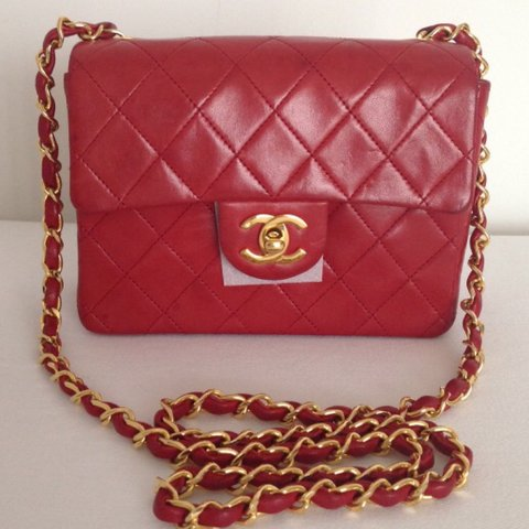 2e8e1832887fbf @tigerlily28. 3 years ago. Singapore. US$1650. Chanel lipstick red (rouge) MINI  classic flap bag. Very pretty vintage Chanel classic piece. With 24K gold  ...