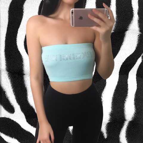 "2cd09ee188a615 Baby blue ribbed bandeau boob tube. Strapless crop top "" new - Depop"