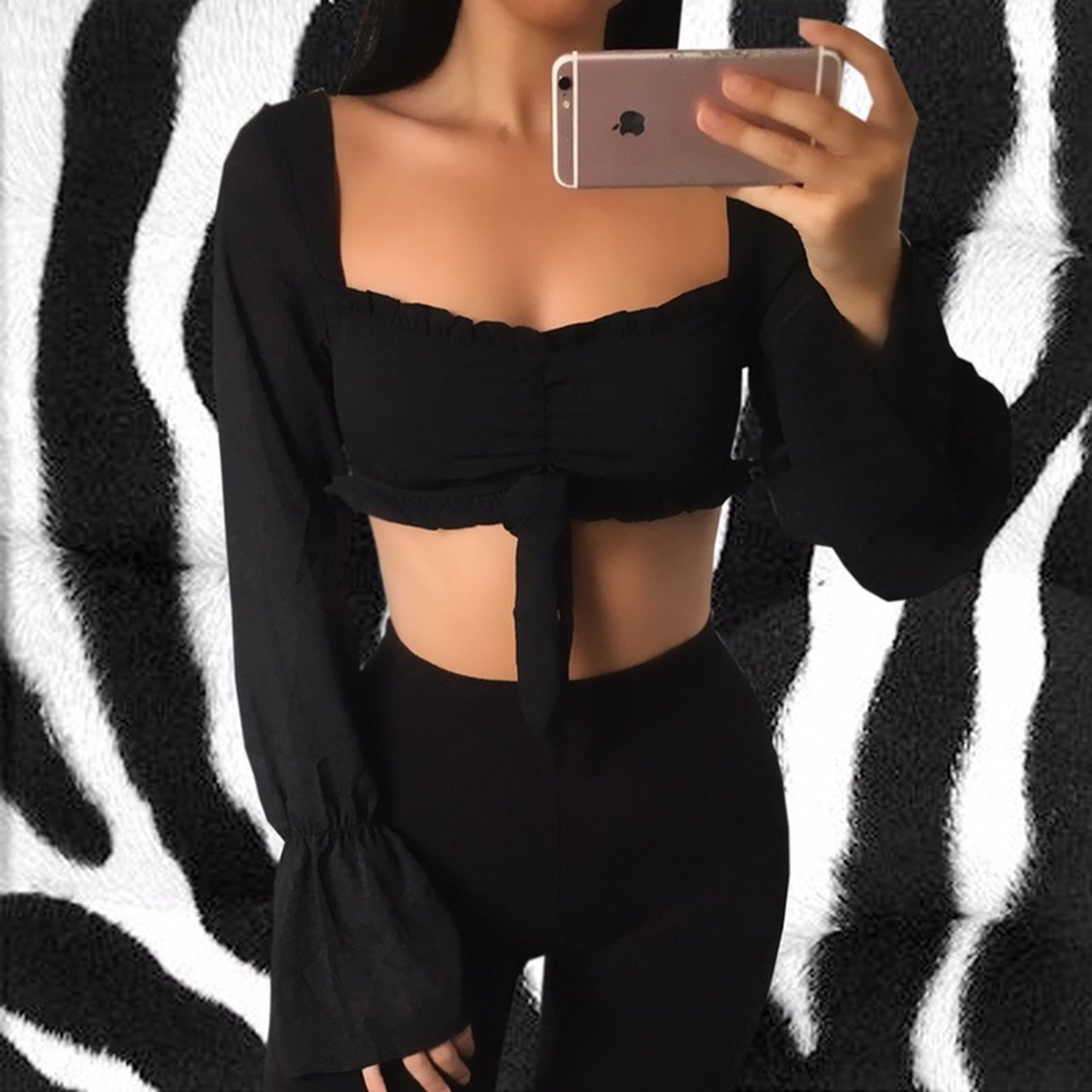 2e6a9a42bf1a8e Black ruched ruffle trim long sleeve crop top. Has backless - Depop