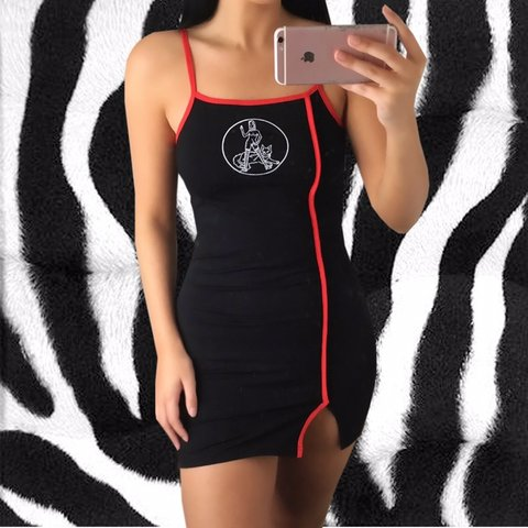 51cdfb1a2 Black, red & white pussy power mini dress. Imagery is stitch - Depop