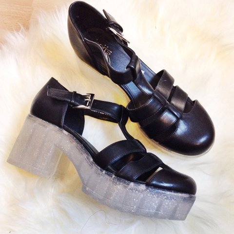440ad5c3038 Black platform shoes. Sole is clear plastic with silver been - Depop