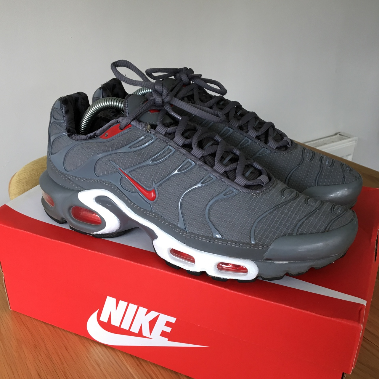 sports shoes 0f14b 9223e Nike air max plus tn grey and white 8/10 - Depop