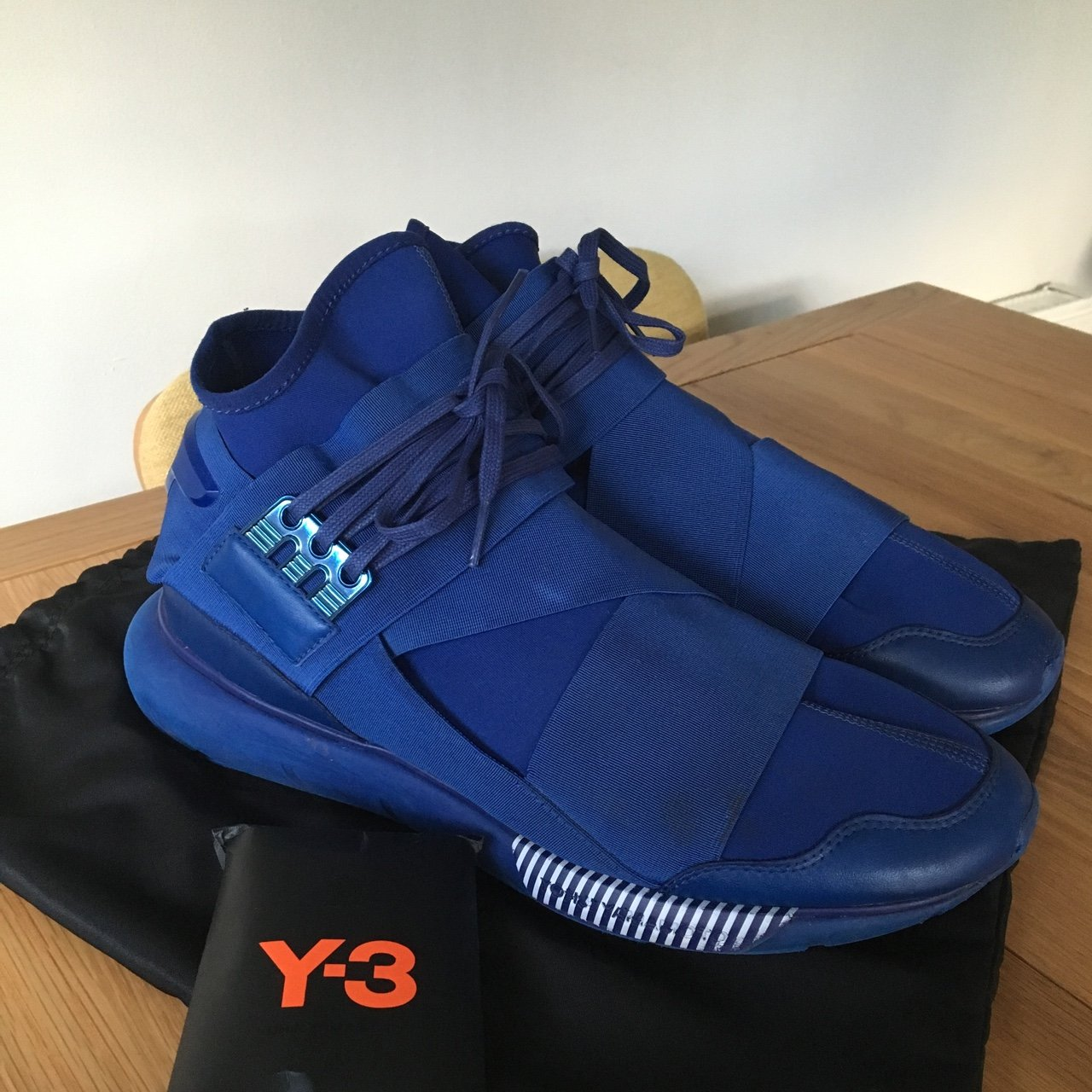 Adidas y-3 qasa high blue and white 8 10 comes with dust and - Depop b7170d191