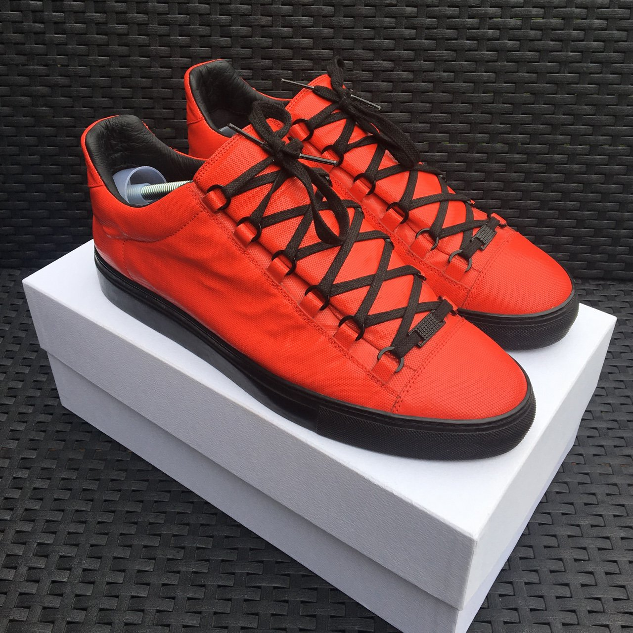7cb5f8fb3ac3 Balenciaga arena low red and black 8 10 - No original box or - Depop