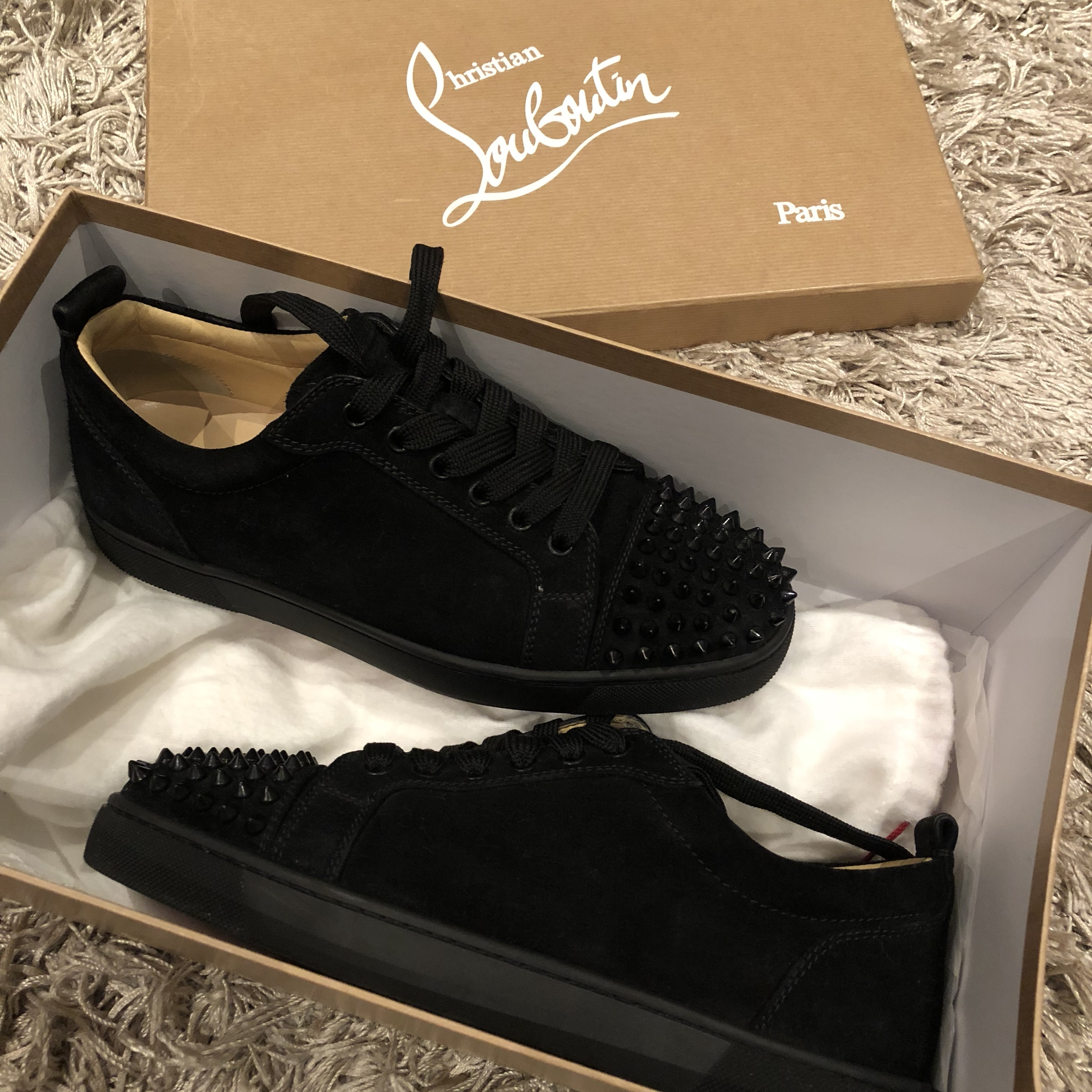 new product d6bc1 d5f83 Christian louboutin junior spikes black suede uk 6 /... - Depop