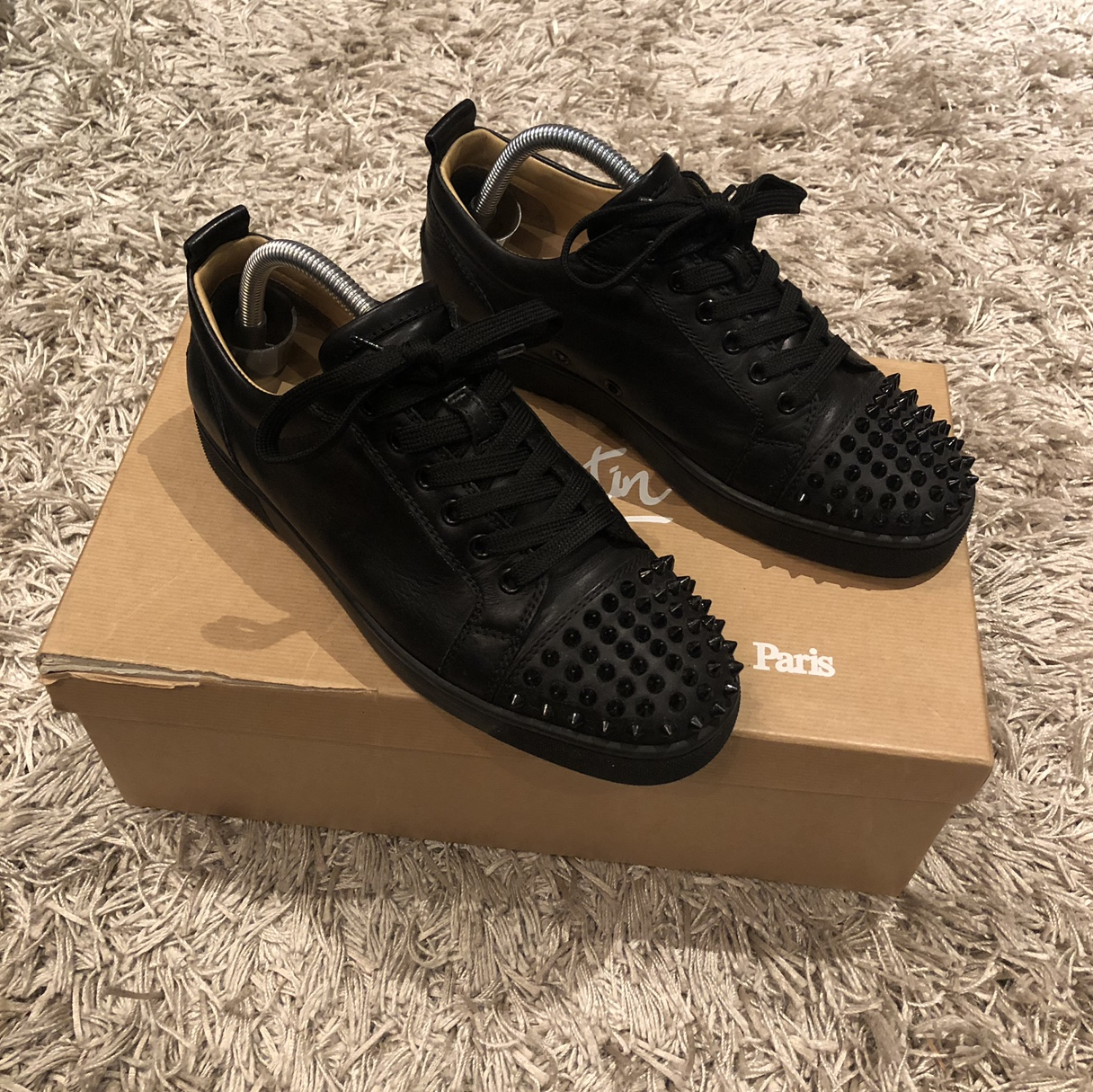 promo code 0cb3a e37d6 Christian louboutin louis junior spikes black... - Depop