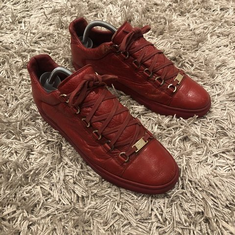6149f44cb3ba Balenciaga arena low red leather uk 7   eu 41 - Used but in - Depop