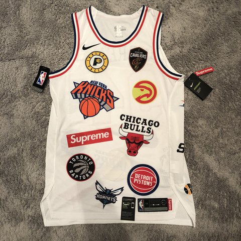 New Supreme NBA Jersey in White Size Medium S18 - Depop b51aa7a55