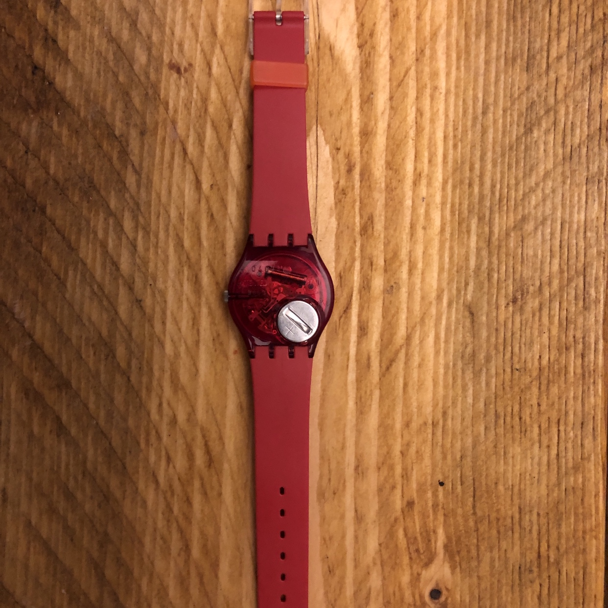 Unisex Swatch Watch featuring a unique design on Depop