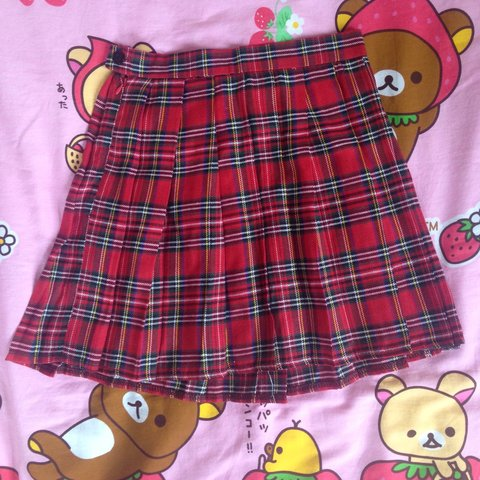 e2663b5c5583 @milkpink. 4 years ago. Pittsburgh, PA, USA. Pleated red plaid mini skirt.  Size