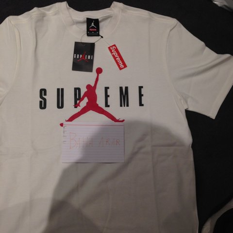 32cdd5edb5f615 Supreme Jordan tee White. perfect condition as new. accept - Depop