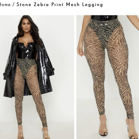 e2a45cacaca77 @abbycurtiis. 23 days ago. Wickford, United Kingdom. Pretty Little Thing  stone zebra print mesh leggings. Size 10 could also fit a 8.