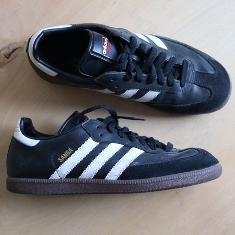 dd2c55a5c @thevintagedig. 5 months ago. Coalville, United Kingdom. Adidas samba black  and white with gum sole size 8. Good condition