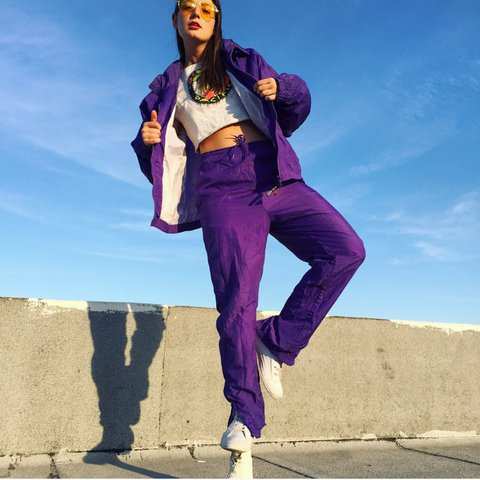 "92891a618577dd @skin_sugar. last year. Los Angeles, United States. ""Purple Panther  Tracksuit"" by USA Olympic. Vintage 80s."
