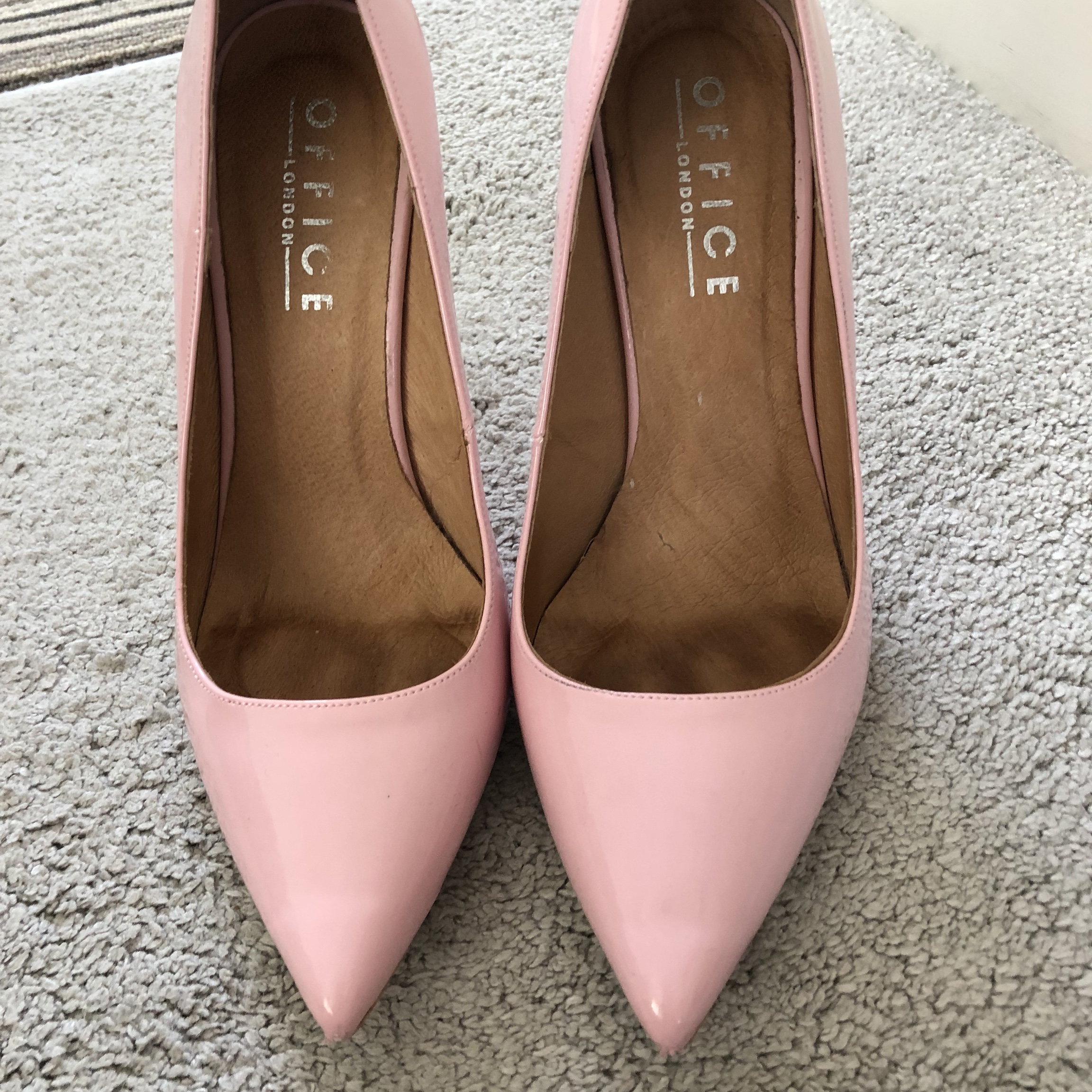 office baby pale pink court heels