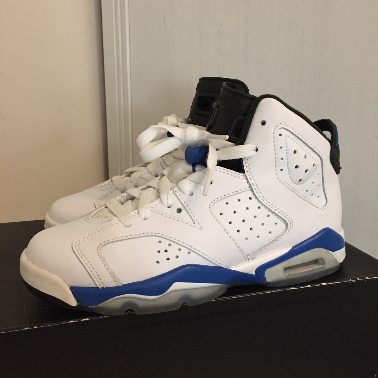 detailed look c0265 05785 GS Air Jordan Sport blue 6s size 4Y. Like new with... - Depop