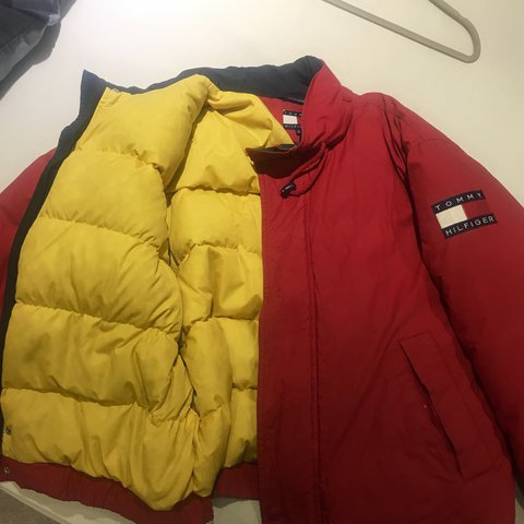 f92d49f5bfe Vintage 90 s Tommy Hilfiger down puffer jacket. Has the flag - Depop