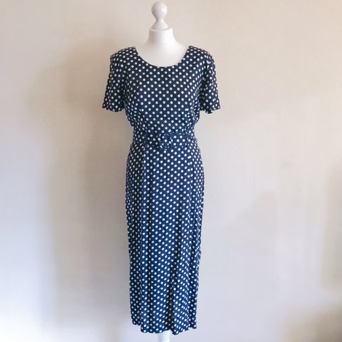 30a28cdeea7 🌼 Lovely vintage 80s navy and white polka dot maxi dress to - Depop