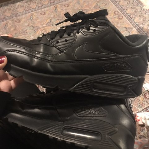 43199368e6569 Nike air max 90 black   silver   leather   VVVVV good Pm 6 - Depop