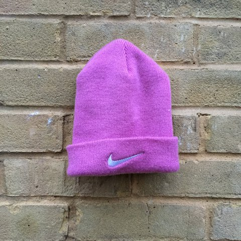 49186c8fe8e5ce NIKE pink swoosh beanie - 10/10 condition. This is straight - Depop